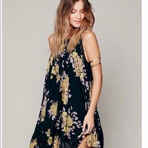 Free People Pleated Floral Tent Dress Boho Flowy